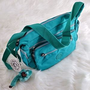 NWT Kipling Turquoise Nylon Purse Bag Monkey Clean